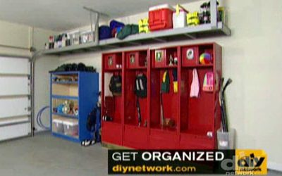 DIY Network: Use Stadium Lockers in Garage Remodel to Create Organized Space