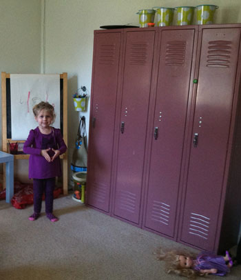 Salvaged Lockers Give Playroom Added Storage Pop Of Color