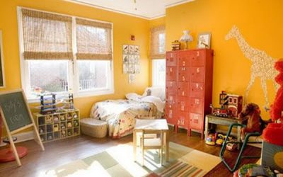 Lockers Give a Pop of Color, Added Storage in Child's Bedroom